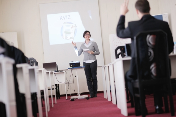 woman making a powerpoint presentation