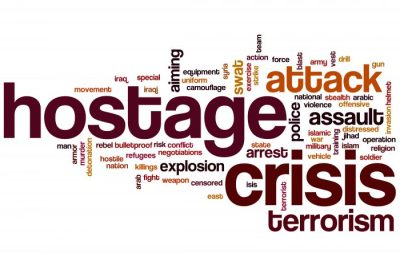 Hostage crisis word cloud concept with terrorism police related tags